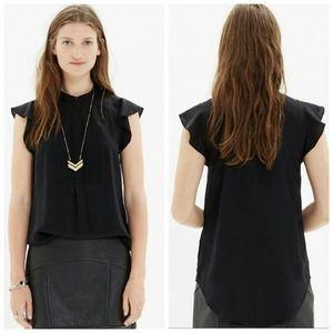 Madewell Silk Shirt Front Blouse Black High Neck 8